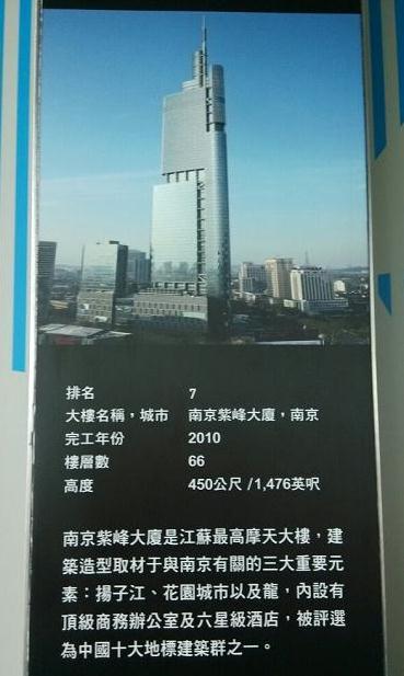 全球排名前十名最高摩天大楼:南京紫峰大厦