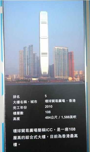 全球排名前十名最高摩天大楼:香港环球贸易广场