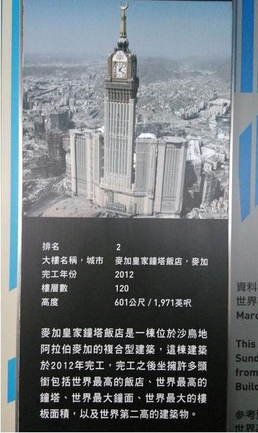 全球排名前十名最高摩天大楼:麦加皇家钟塔饭店