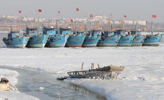 山东省青岛市胶州湾高新区海域大面积封冻,海冰厚度约5厘米,大批渔船封冻暂时无法出海
