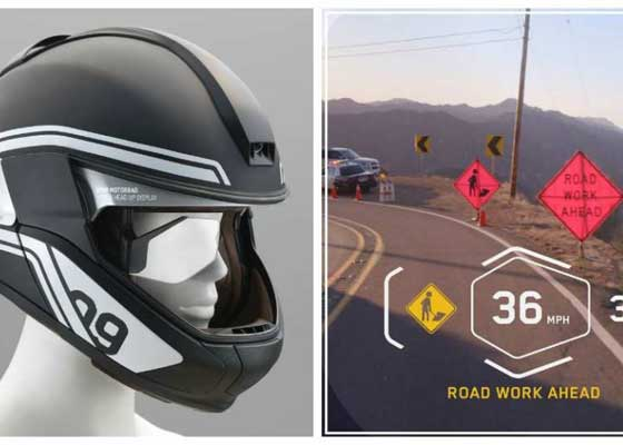 宝马虚拟现实摩托车头盔    宝马公司刚开发的这款摩托车头盔配备了HUD显示器,让你开着摩托车却拥有驾驶F-35战斗机一般的体验。宝马联合初创公司DigiLens一同设计了这款头盔,通过虚拟现实技术,这款头盔可以让你在驾驶的同时查看车速、档位、油量、导航等信息,前置和后置的摄像头还能捕捉路况信息,实时反馈给驾驶者。