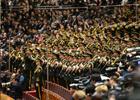 3月5日,第十二届全国人民代表大会第四次会议在北京人民大会堂开幕。这是军乐团高奏国歌。新华社记者 刘军喜 摄