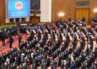 3月5日,第十二届全国人民代表大会第四次会议在北京人民大会堂开幕。这是全体起立唱国歌。新华社记者 杨宗友 摄