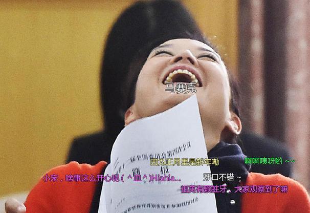 3月6日,全国政协十二届四次会议文艺界别委员小组讨论会上,宋祖英仰面大笑。