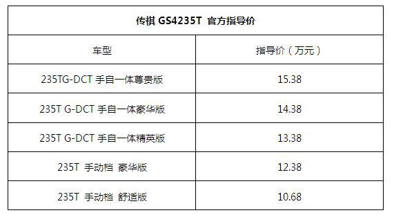 传祺GA6235T官方指导价