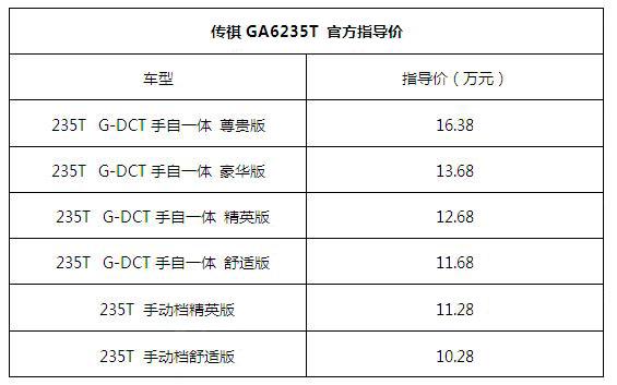 传祺GA4235T官方指导价