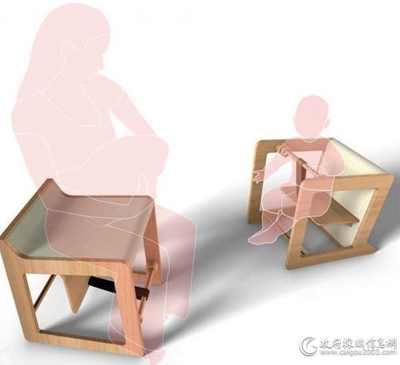 设计师为了解决小孩子长得快的问题,创意便出现了,把椅子换个角度摆放,就是一把正常的椅子,随着孩子年龄的增长,同一把椅子依然可以满足使用。