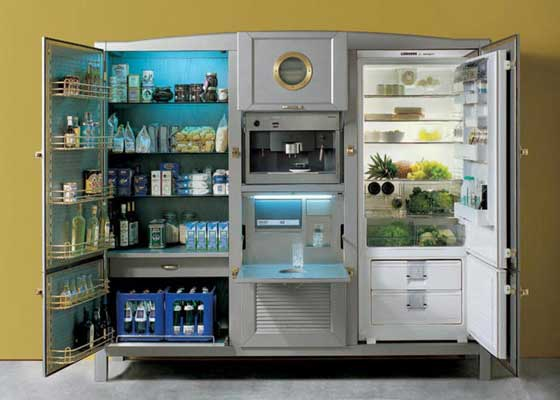 10. Cambusa冰箱内部(4.1万美元)    打开之后,可以看到Cambusa冰箱提供全方位的食物存储解决方案,其中包括食品储藏室、冷冻隔间、咖啡机和冰块箱--透过该设备的孔口,你可以看出其中的一些功能。