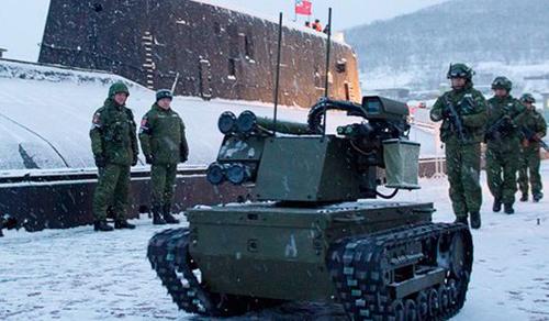 俄军研制新型机器人:士兵挥手就向目标开火