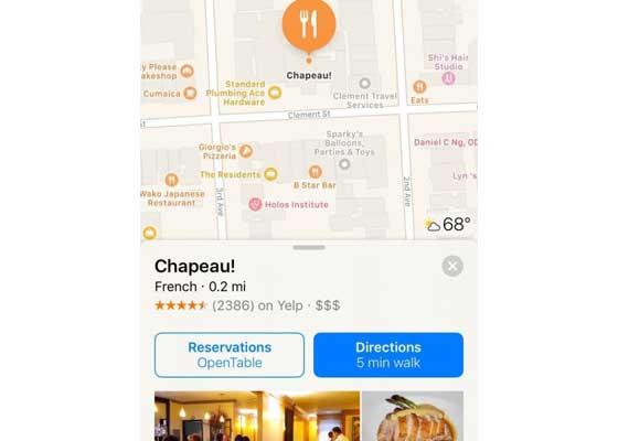 Maps +应用    地图应用如今可让你在应用内访问第三方应用,比如Yelp和OpenTable。点击地图上的位置就会出现一张新的地点卡片,卡片会链接相关的应用,让你能够进行预约或者查看菜单。