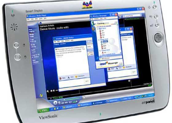 优派Airpanel V110智能显示屏(2003)    优派Airpanel V110智能显示屏的定位是一款平板电脑,但它离我们现在所理解的平板电脑还差得远。高达1000美元的售价,却无法匹配它时不时地会出错的糟糕表现