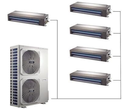 家用中央空调每台室内机分别有一个送风口和一个回风口,气流循环更