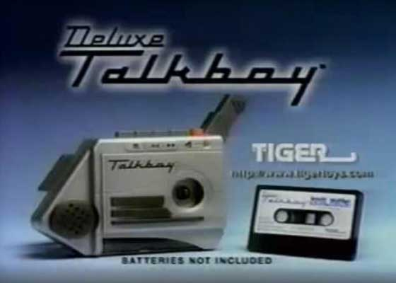 Talkboy    Tiger Electronics于1992年推出了Talkboy,以借助当时热播的电影《小鬼当家2》的东风。在电影中,Talkboy会不停的录制和播放声音,他们的声音被加速或者放慢播放后显得十分搞笑。