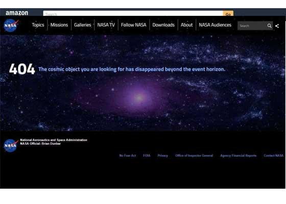 2.NASA网站    美国宇航局以非常幽默的方式解释404网页错误,告诉网络用户:你寻找的宇宙目标正消失在视野之外。此外,旋转的星星床也会为信息中添加有趣的视觉乐趣。