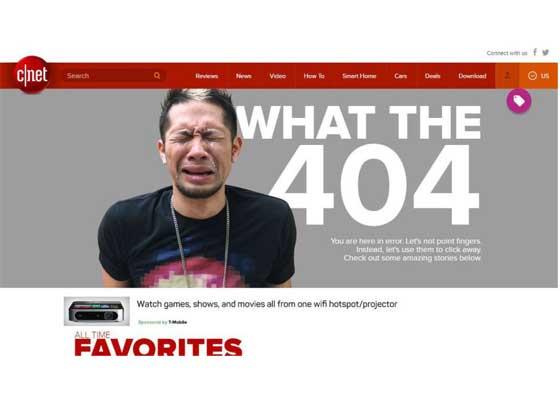 16.CNET网站    当你发现404错误网页时,你可能有想哭的感觉,CNET的404网页就展示了这种绝望感。可是,即使你正寻找的网页不在,你还可以有其他大量网页可供访问。