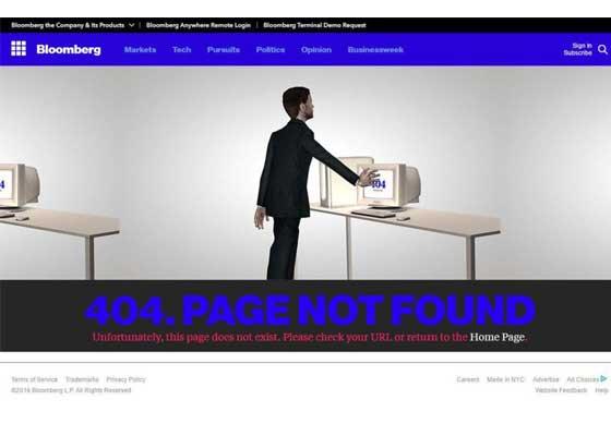 14.彭博社网站    商业新闻网站彭博社的404错误页面显示,穿着西装的男人重复排队企图打开旧式电脑显示器,可是每次都会失败。尽管这个场景显得有点儿怪异,但却也符合404令人沮丧的情绪。