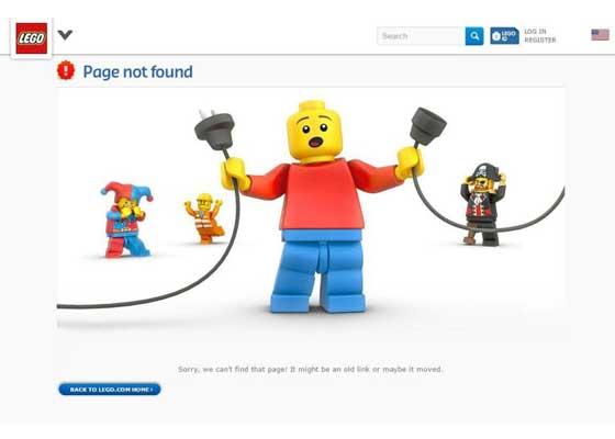 10.乐高网站    乐高的404网页中,也加入了其玩具明星。你可以跟随旧链接,也可以欣赏该公司经典的断线或后台鬼脸等场景。