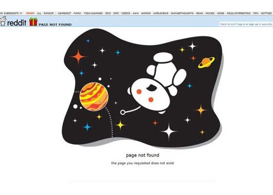 15.Reddit网站    网络社区Reddit的404错误网页以其外形吉祥物为中心。当你遇到404错误时,你会看到不同的插图,显示外星人正在消失或处于绝望状态。它们可能被困在沙漠中汗流浃背,可能被困在太空中等。