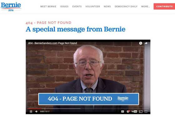 """11.竞选网站    美国参议院伯尼·桑德斯(Bernie Sanders)可能不再竞选总统,但他的竞选网站依然显示非常个性化的404信息。桑德斯本人在短视频中称:""""好消息是你来对了网站,而且它绝对是个好网站。坏消息是,你碰到了错误的页面。"""""""