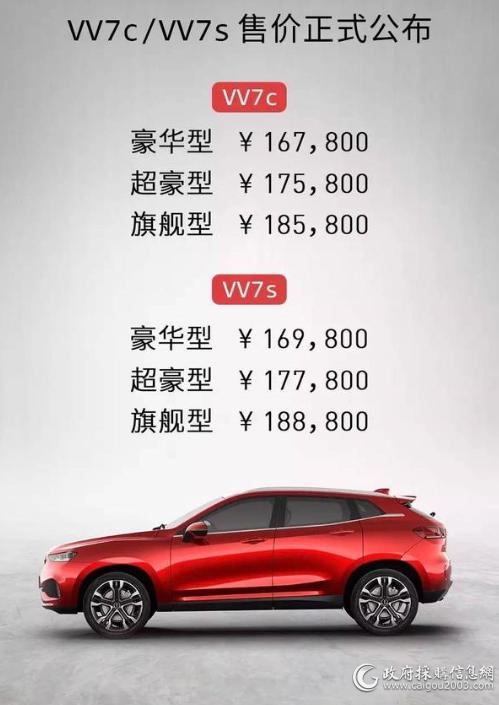 VV7c VV7s统一售价公布