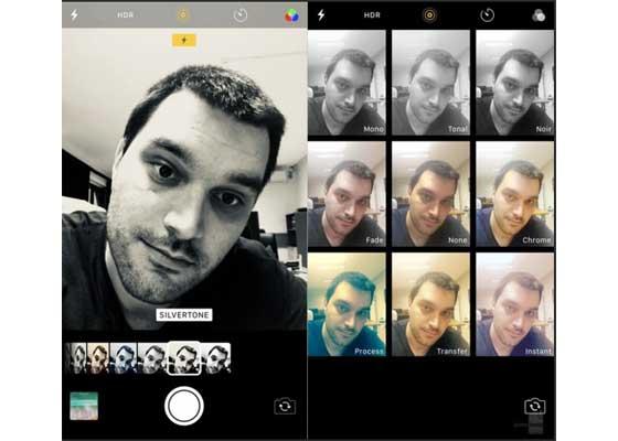 相机滤镜 – iOS 11(左)vs iOS 10(右)    以上是新老iOS系统的摄像头滤镜对比,iOS 11放大显示所选的滤镜效果,其它的效果选项收缩在下方。而iOS 10则是采用九宫图布局,以同样的尺寸大小显示各种滤镜效果。