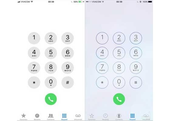 拨号键盘 – iOS 11(左)vs iOS 10(右)    拨号键盘在视觉外观上也进行了一点调整。退格按钮也被调整到了底部,这样的布局对于一些用户来说或许会更加直观。