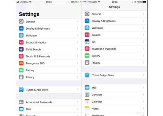 设置#2 – iOS 11(左)vs iOS 10(右)    在设置应用界面往下滑动,可以看到一些新的菜单,如账户与密码,紧急SOS。声音与触觉等其它的菜单也进行了调整,从而能够更加全面地反映菜单内容。
