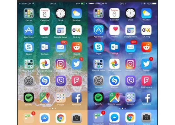 主屏幕 – iOS 11(左)vs iOS 10(右)    注意主屏幕左上方新的信号条,Dock栏里的应用和文件夹名称也消失了。iOS 11的电池状态图标增加了细细的轮廓线。现在新系统的字体看上去略微加粗了,在明亮的背景中变得更加可读。
