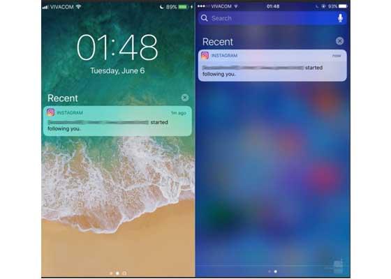 通知中心 – iOS 11(左)vs iOS 10(右)    通知中心中的最近动态没什么变化。