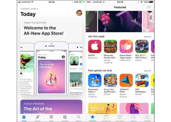 App Store应用商店 – iOS 11(左)vs iOS 10(右)    新系统完全告别旧式的App Store——新App Store使用更粗的字体,更加强调设计,所展示的艺术图也更大。全新的应用商店分成几个大类,比如今天、游戏和应用。更新升级和搜索标签则还在。