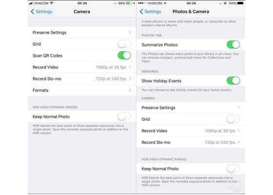 相机设置 – iOS 11(左)vs iOS 10(右)    新的相机菜单现在包含原来出现在iOS 10的照片与相机菜单的主要相机设置选项。iOS 11中增加了扫描二维码这一新的选项,还含有让你在两种文件格式HEIF/HEVC 和JPEG/H.264之间选择的菜单。后者将可以让你优先考虑效率,而非兼容性。