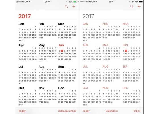 日历 – iOS 11(左)vs iOS 10(右)    日历应用的变化主题也是:字体更大更粗。