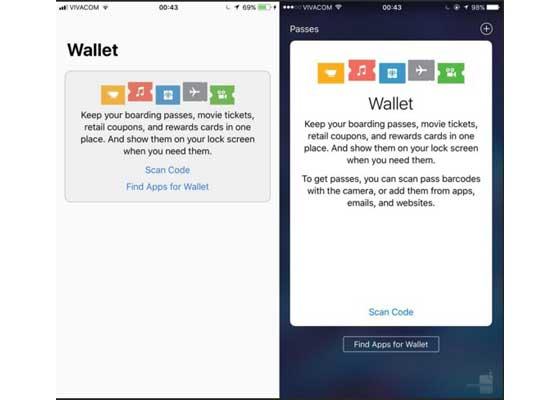钱包 – iOS 11(左)vs iOS 10(右)    钱包应用如今也带有一些亮眼的新视觉元素,这些因素与iOS 11的整体设计更为一致。