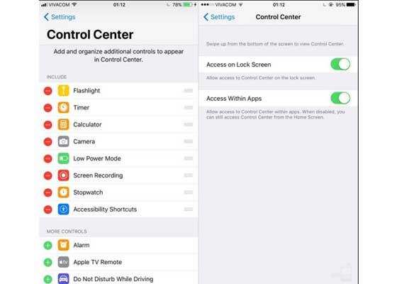 控制中心#2 – iOS 11(左)vs iOS 10(右)    控制中心如今变得比以往任何时候都更加可定制了。iOS 10里对应的菜单页面相形见绌。