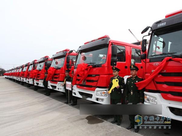 重汽豪沃消防车投入黑龙江消防部队