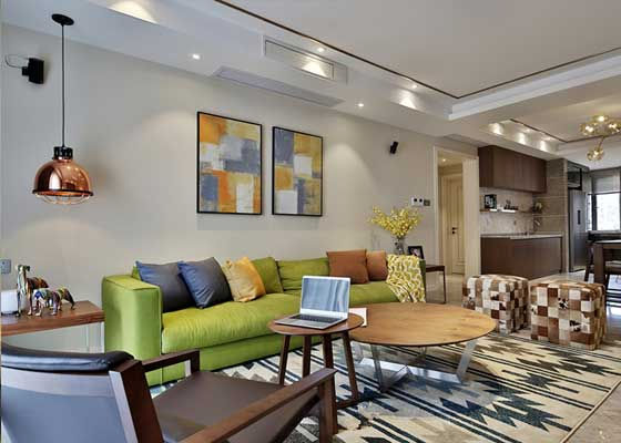木家具布艺沙发 现代混搭公寓