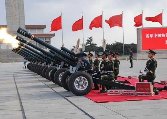 我国自主研制的第六代08式迎宾礼炮。