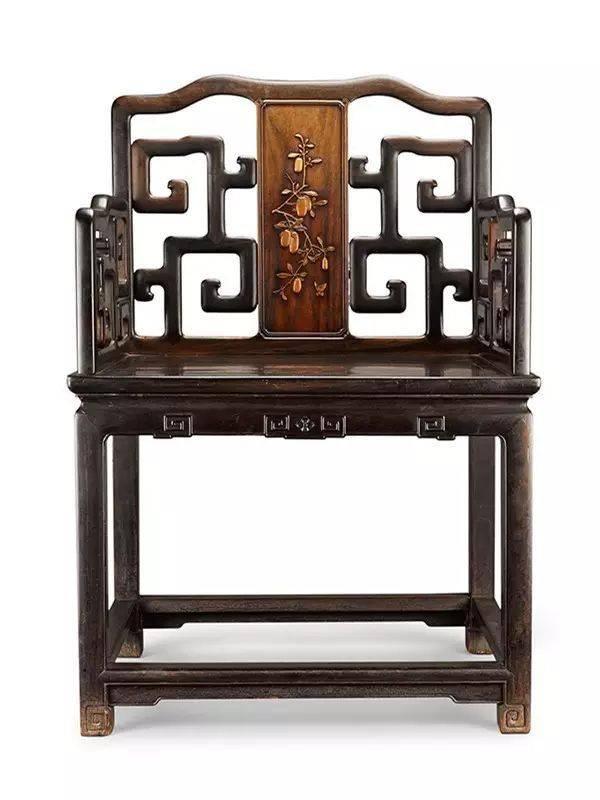 清 紫檀镶黄杨扶手椅