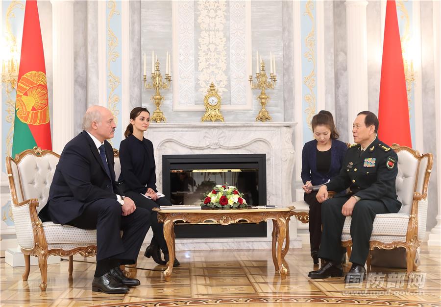 白俄罗斯总统会见魏凤和
