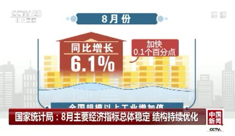8月我國主要經濟指標總體穩定 結構持續優化