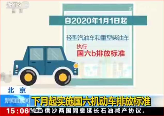 北京 下月起实施国六机动车排放标准